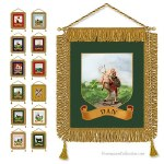 12 Royal Arch Banners. Superbs traditional pictures. High quality fringes, fabric and canvas. Brass cross rod.  Freemasonry