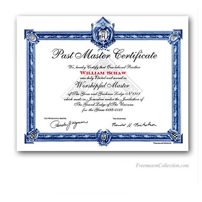 Past Master Certificate