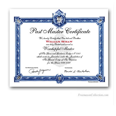 Past Master Certificate US