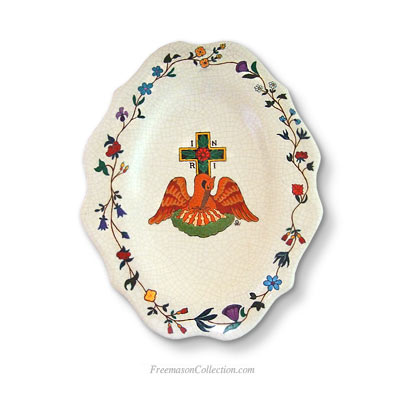 The Pelican Rose Croix. Masonic Faience Plate