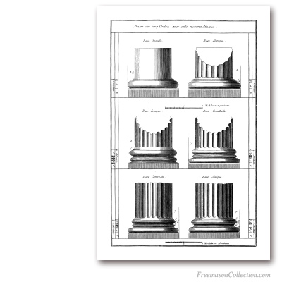Orders of Architecture: Bases. Encyclopédie Diderot & d'Alembert. Masonic Art