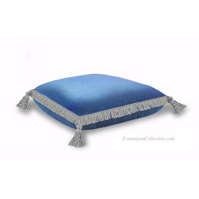 Bible Cushion. Pale Blue Velvet. Anti-stain protected velvet. Superb trimmings 4 tassels. Freemason