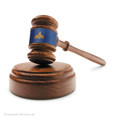 Senior Warden Gavel in Acacia Wood. Handcrafted. Hand-Turned. L:27cm/10.6in. Blue Leather. Genuine Acacia Wood. Freemason