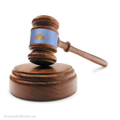 Senior Warden Gavel in Acacia Wood. Handcrafted. Hand-Turned. L:27cm/10.6in. Pale Blue Leather. Genuine Acacia Wood. Freemason