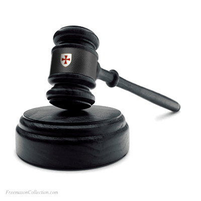 Knight Templar Gavel. Handcrafted. Hand-Turned. L:27cm/10.6in. Rainbow leather. Genuine Acacia Wood. Freemasonry