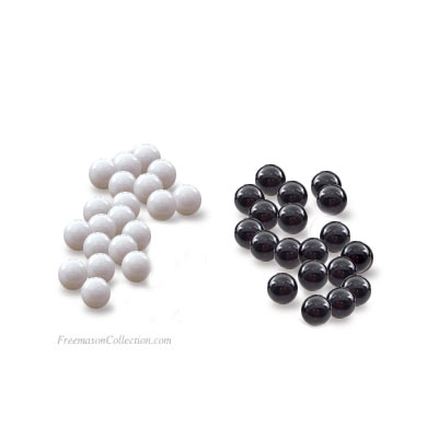 20 White Balls + 20 Black Balls Black and white balls for masonic ballot. Freemasonry