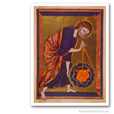The Great Architect of the Universe. Creator au Compass. Masonic Paintings