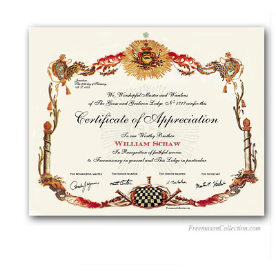 Masonic certificates awards and diplomas freemason collection masonic certificate of appreciation yadclub Images