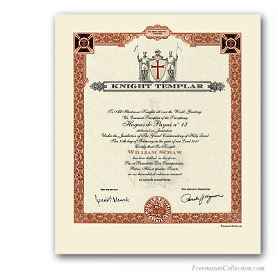 Knight templar certificate masonic certificates awards and knight templar certificate yelopaper Image collections