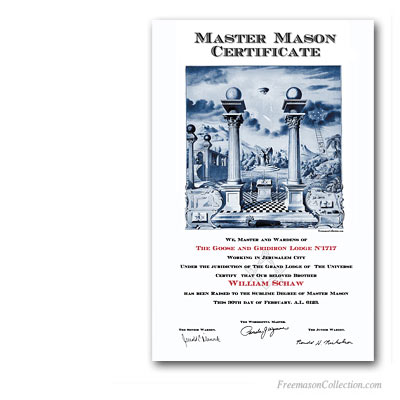 masonic certificate template - master mason certificate masonic certificates awards and